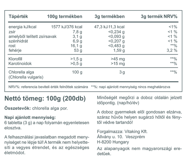 Vitaking Chlorella tabletta