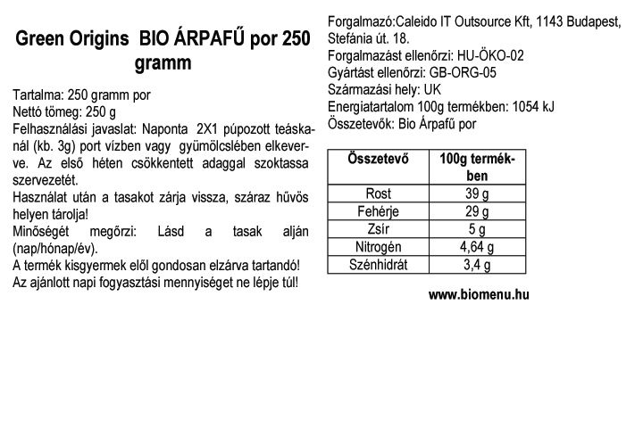 Green origin bio árpafű por
