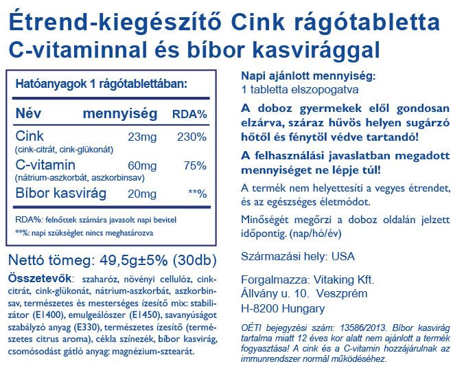 Vitaking Cink tabletta