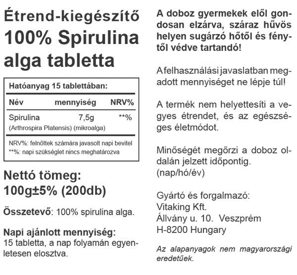 Vitaking Spirulina 200db