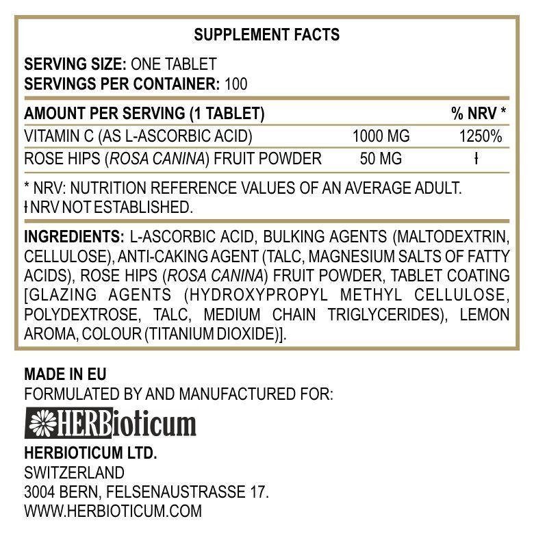 Herbioticum C-vitamin 1000mg + csipkebogyó 50mg tabletta