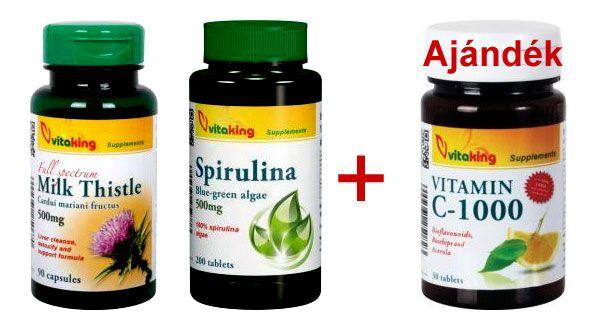 Vitaking Máriatövis + Spirulina + ajándék C-vitamin