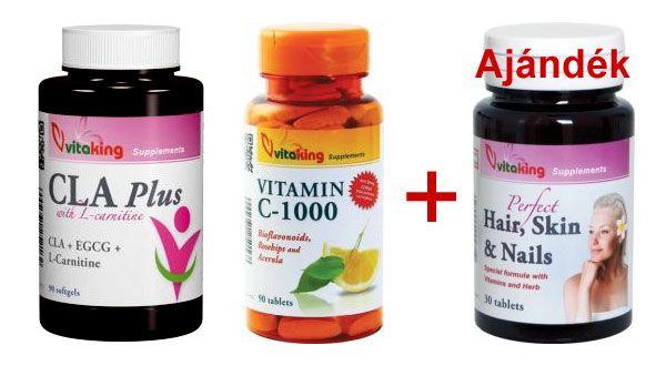Vitaking CLA Plus + C-vitamin + ajándék Haj, bőr, köröm vitamin