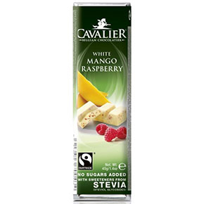 Cavalier Fehér csokoládé szárított mangóval és málnával..